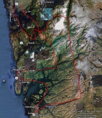 Kartet er hentet fra Google Earth